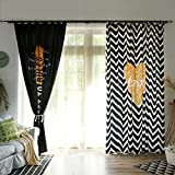 YUNCHENGZI Nordic Black and White Wavy Curtains,Clothing Store Curtain Dressing Room Cloakroom Panel 106' l 2 Panels-A 157' W