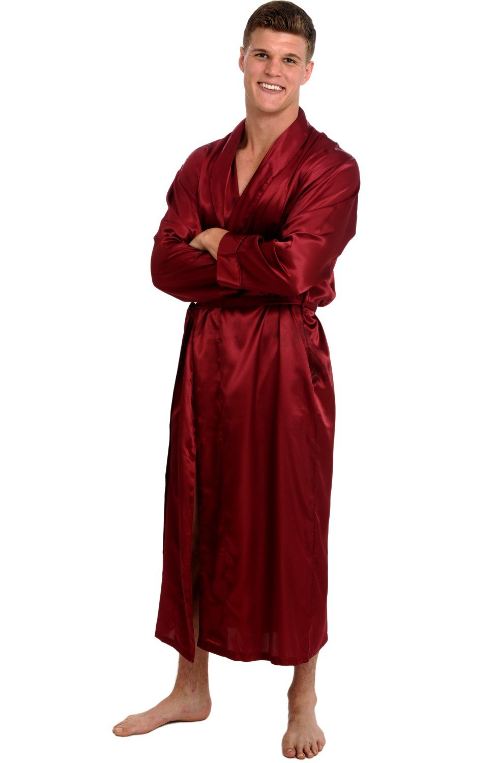 Alexander Del Rossa Mens Satin Solid Color Robe, Long Lightweight Loungewear A0720-Solid
