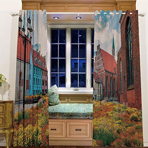 (Printed Blackout Curtains Grommet Thermal for Small Windows 2 Drapes,58
