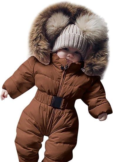 TPulling Baby Mädchen Junge Kleidung Winter Säuglingsbaby Mädchen Spielanzug Jacke mit Kapuze Overall Warmer starker Mantel Outfit
