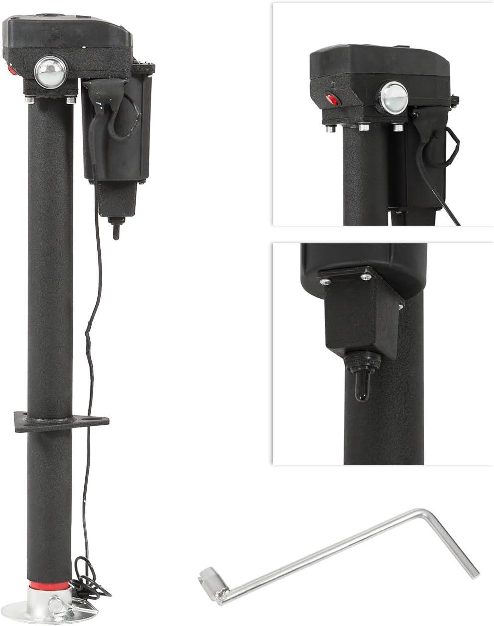 Trailer Jack Rv Electric Tongue Foot Pad 12 Volts Automotive Manual Adjustable