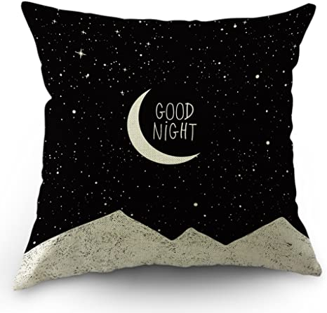 Moslion Moon Pillows Decorative Throw Pillow Cover Case Night Sky Moon Stars Mountain Good Night Quote Cotton Linen Pillow Case 18 X 18 Inch Square Cushion Cover For Sofa Bedroom Black