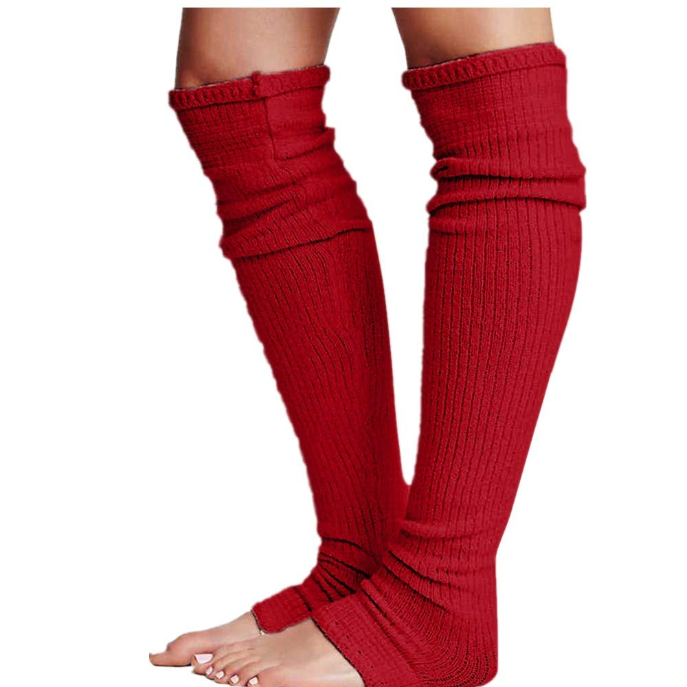 Pervobs Ladies Women Thigh High OVER the KNEE Socks Long Cotton Stockings Warm Leggings Sheer(Wine Red)