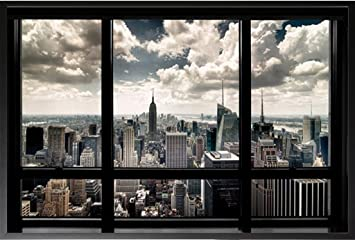 framed new york city window 36x24 wood framed poster art print chrysler building