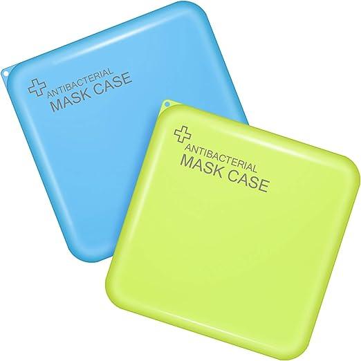 2 Piezas Caja de Almacenaje de Plástico Organizador Portátil Estuche de Almacenar Cubierta Facial con Tapa para Cubierta de Cara Accesorios de Cara (Azul y Verde): Amazon.es: Belleza