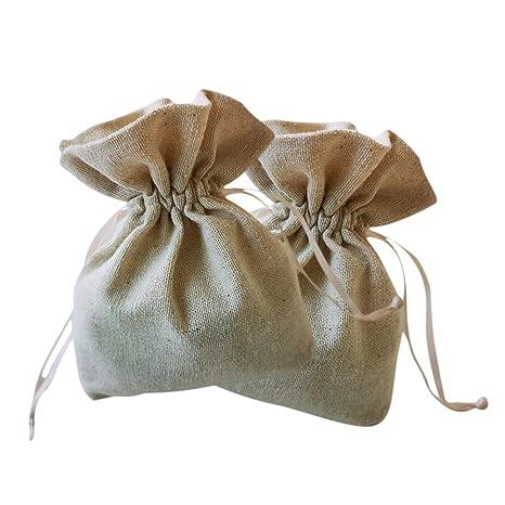 Vosarea 10 bolsas de organza de lino con cordón para joyería ...