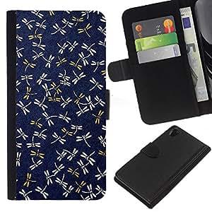 KLONGSHOP // Tirón de la caja Cartera de cuero con ranuras para tarjetas - Azul marino Patrón Gold Spring - Sony Xperia Z2 D6502 //