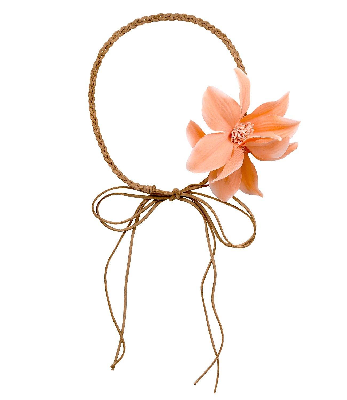 SIX Sommer geflochtenes Haarband Kopfband mit zwei Blumen Festival Fasching Kostüm (456-535)