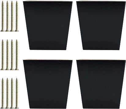 sourcing map Juego de 4 patas cuadradas de madera maciza de 3.1 pulgadas para muebles de sofá, banco, armario y armario, con ajuste de altura