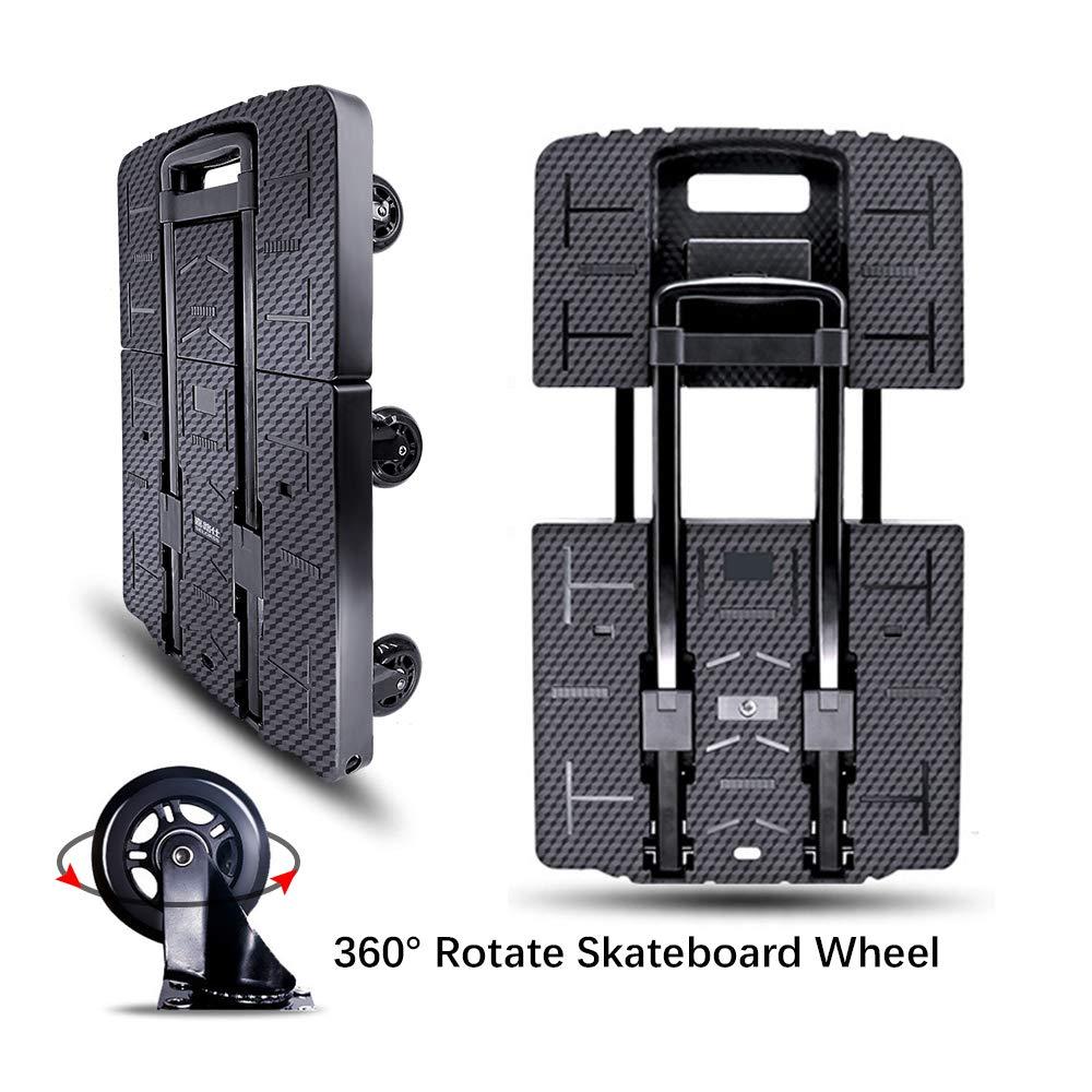 Carretilla de mano plegable, resistente al desgaste, sin ruido, rotación de 360 ° 7 ruedas 245KG / 540LBS Capacidad Extensible Base grande Mango ajustable Portátil de servicio pesado y duradero