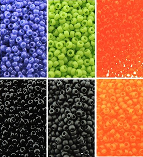 Halloween Colors - 6 Color Mix Miyuki Round Rocaille Seed Beads Size 11/0, Each in 2