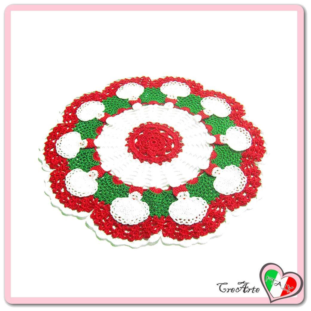 Tapete de ganchillo rojo y blanco con Papá Noel para Navidad ...
