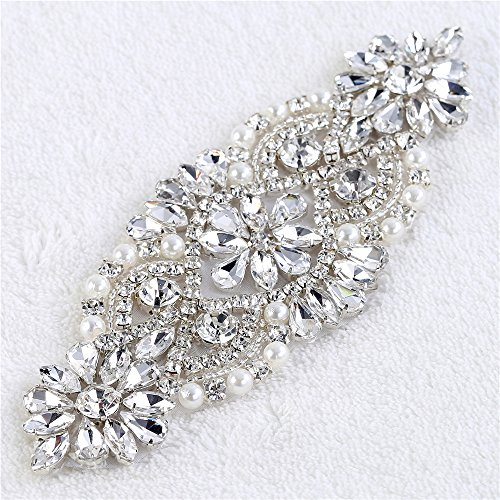 Handcrafted Crystal - Iron on Bridal Pearls Crystal Rhinestone Diamante Strass Wedding Applique Patches Embellishment Handcrafted Bling Decoration for Woman Formal Dress Prom Gown Shoes Headpieces Heel Sparkly Girl Belt