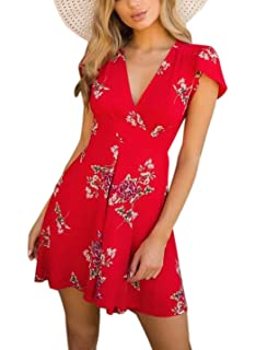 a94f241ecee1 heyinshangmao Women's Sexy V-Neck Short Sleeves Flare Asymmetric Floral  Print Party Summer Short Mini