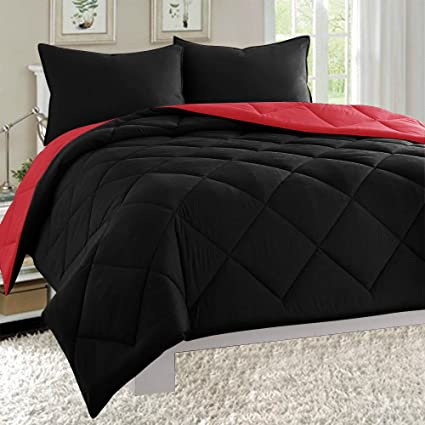 Empire Home Dayton Down Alternative 3 Piece Reversible Comforter Set (King  Size, Black & Red)