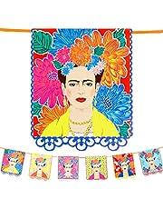 Talking Tables Frida Kahlo guirlande met print - 3m, Felgekleurde Boho feest decoraties voor verjaardag, Fiesta, Mexicaanse Cinco de Mayo, Kinder slaapkamer