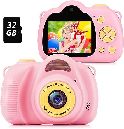 Estuche para la Camara Ni/ñas Regalos de cumplea/ños Funda de Silicona Luclay C/ámara Digital para Ni/ños Clips de Fotos Azul 2 Selfie Video C/ámara Infantil 2.0 Inch 20MP 1080P HD 32GB TF Tarjeta