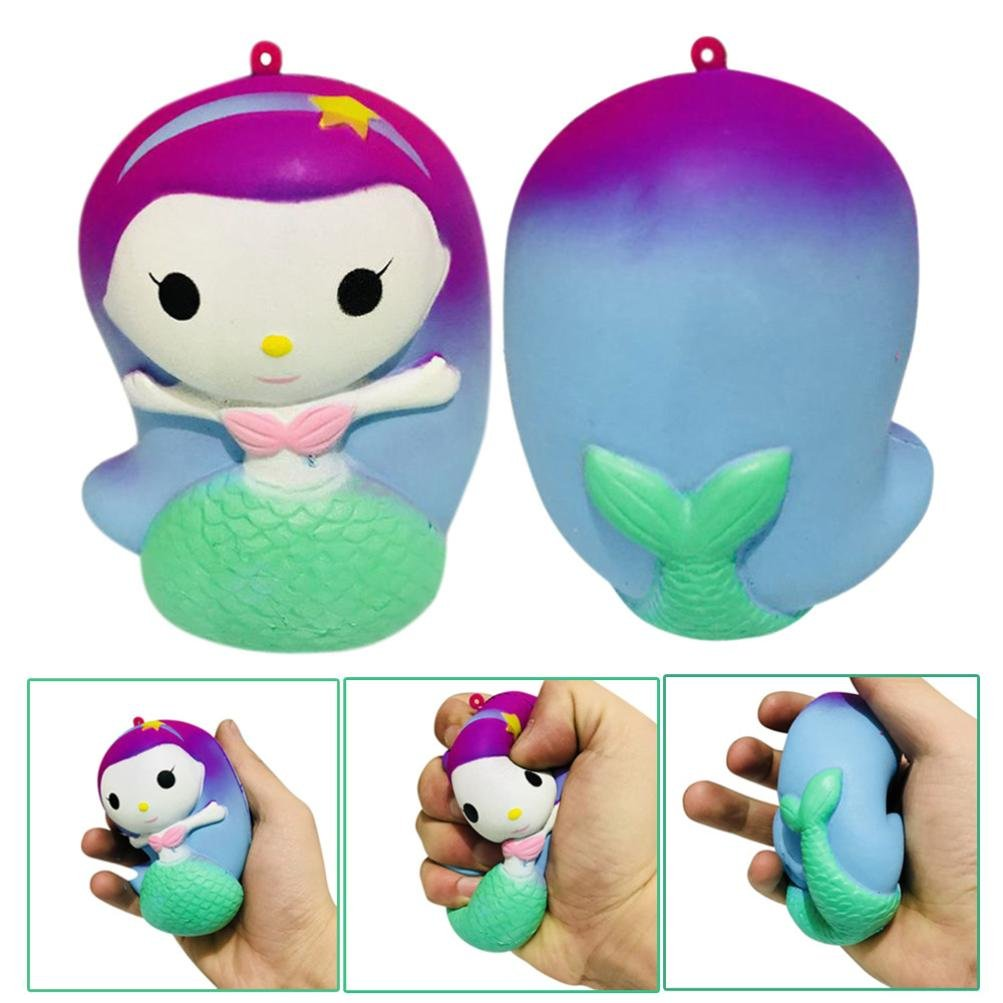 Newest Super Slow Rising Squishies Jumbo, Toamen 10cm Finger Mermaid Doll Scented Squishy Charm Slow Rising Simulation Kid Toy Key Cell Phone Pendant Strap Gift Toamen Toys