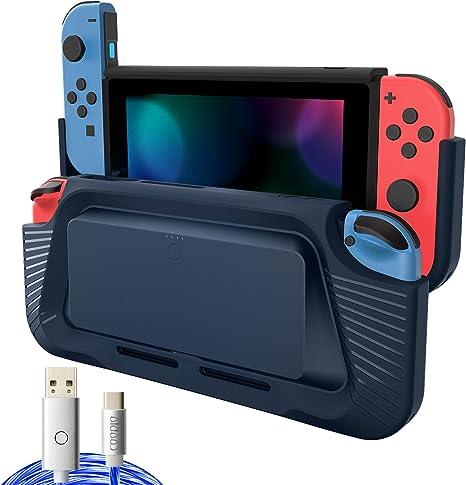 COODIO 2in1 Batería Externa y Grip Para Nintendo Switch, 10000mAh Powerbank Switch, Empuñadura Funda Switch con Type-C Cable de iluminación / Soporte Para Nintendo Switch Joy-Con, Azul Oscuro: Amazon.es: Videojuegos