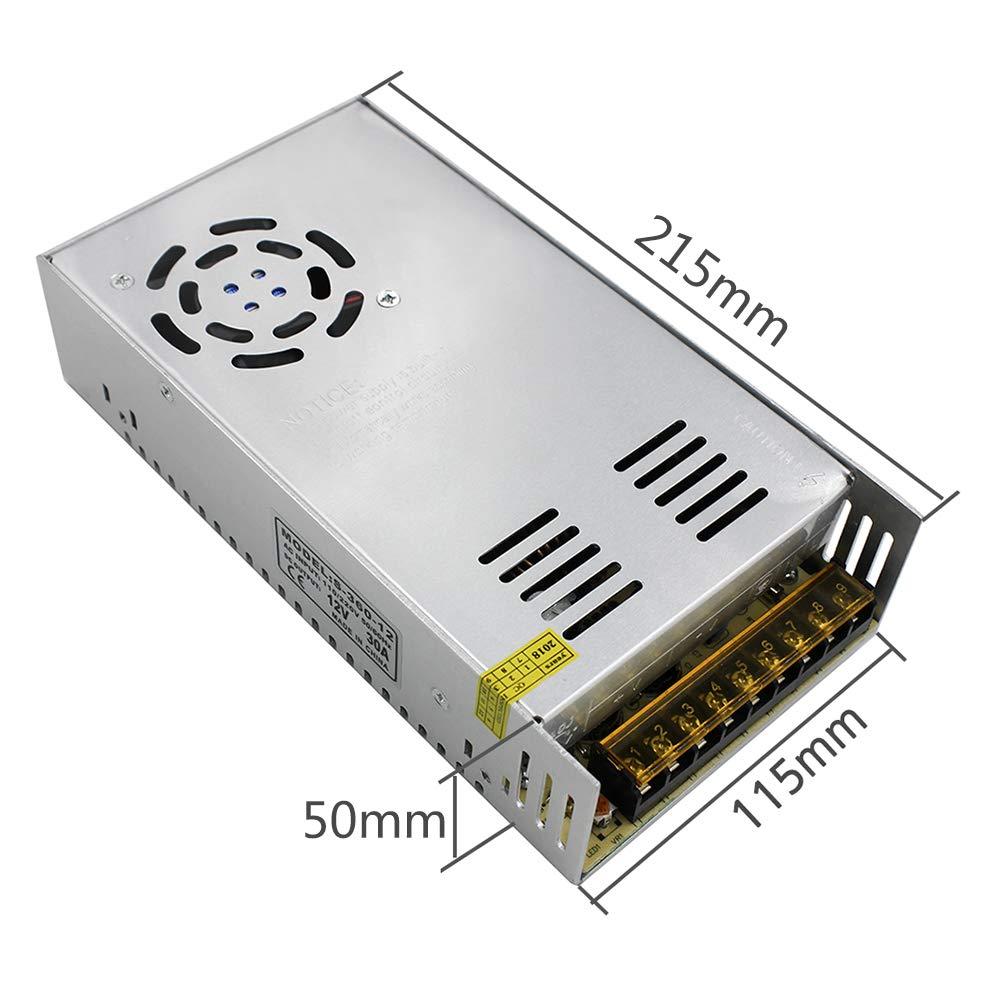 KeeYees DC 12V 30A 360W Transformador de Voltage Conmutación Fuente de Alimentación AC 110V-220V Universal Regulada para Impresoras 3D Tira LED ...