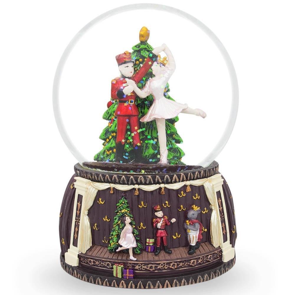 6'' Nutcracker and Ballerina Dancing Around Christmas Tree Music Snow Globe