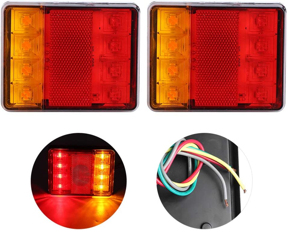 KIMISS Duokon 2 uds 12V LED luz Trasera Intermitente l/ámpara indicador Impermeable a Prueba de Golpes para remolques Camiones Barco