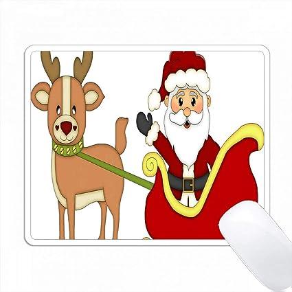 Amazon かわいいクリスマスサンタクロース トナカイのイラストで彼のそりに Pc Mouse Pad パソコン マウスパッド Varezane マウスパッド 通販
