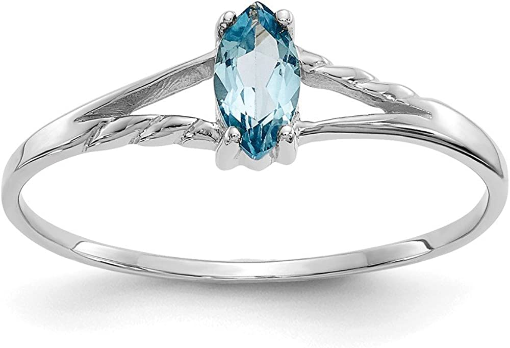 Diamond2Deal 10k White Gold 0.28CT Marquise Cut Blue Topaz Engagement Ring Ideal Gifts for Women