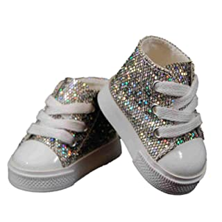 18 Doll Shoes Clothing Accessory for American Girl, Silver High Top Sneaker & Shoe Box by The Queen's Treasures Silver High Top Sneaker & Shoe Box by The Queen's Treasures The Queen's Treasures ? AGSSHT