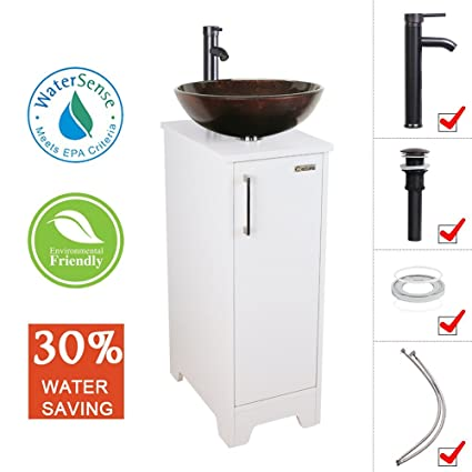 Eclife 14u0026quot; Bathroom Vanity And Sink Combo White Small Vanity Round  Tempered Glass Vessel Sink