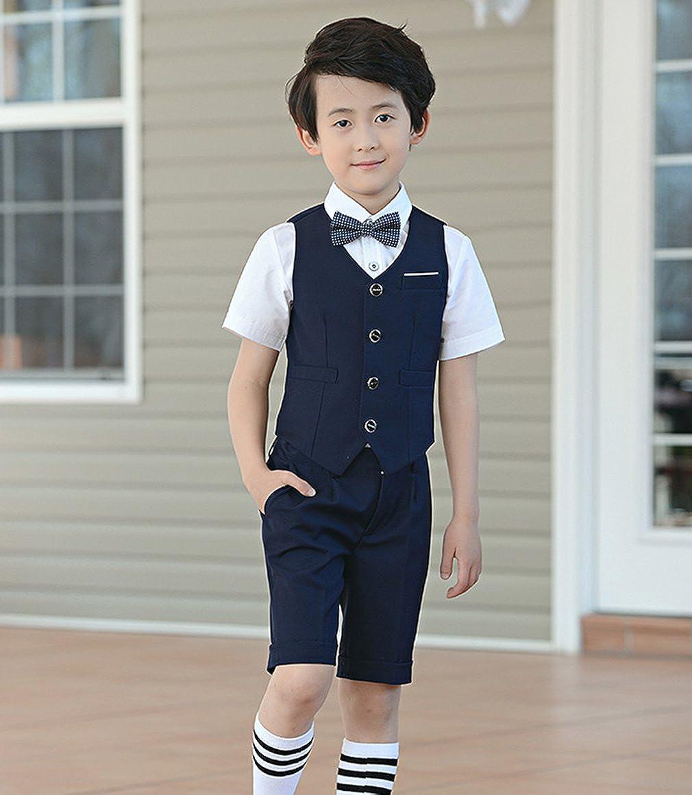 La Vogue Boys 4 Piece Suit Set Tuxedo Shirt Vest Bow Tie Shorts