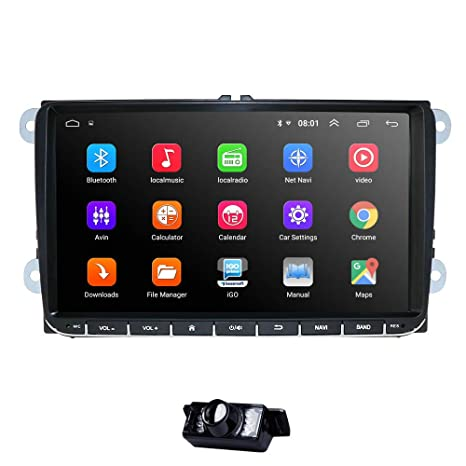 WiFi 9 Inch Android 9.0 Double 2 Din Car Stereo Video Receiver Radio GPS Navi for VW Golf Polo Passat Tiguan Jetta EOS+North America Map+Camera ...