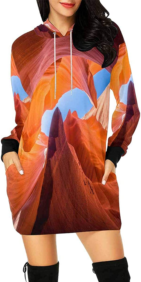 InterestPrint Women's Long Sleeve Mini Hoodie Dress Animal Party Cute Sloth Pizza Drawstring Pullover Sweatshirt