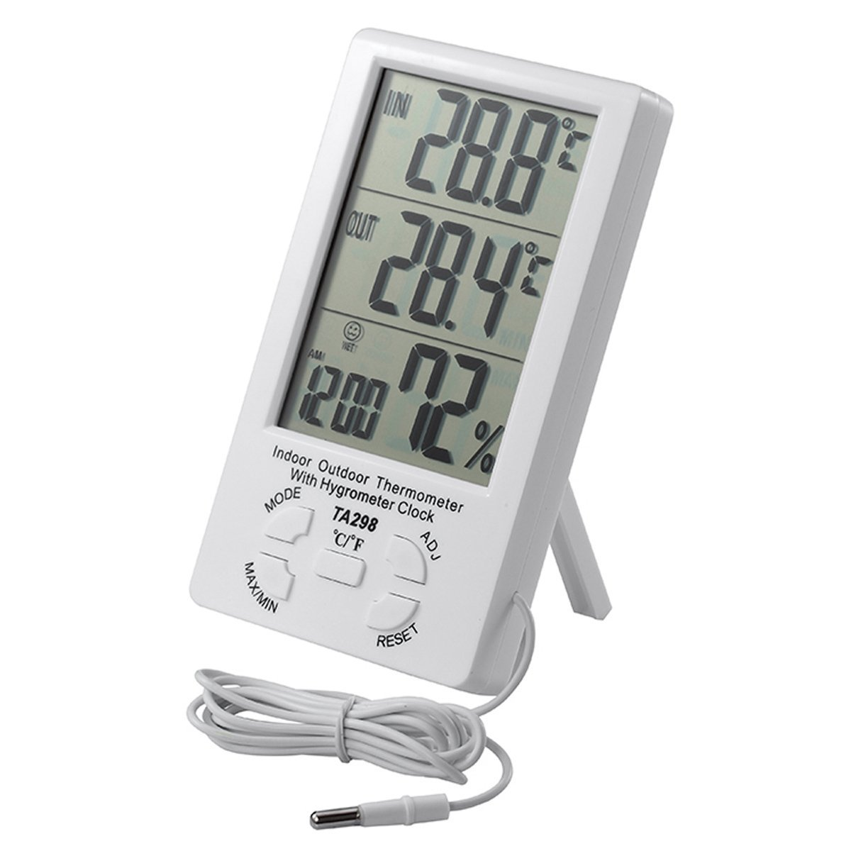 IDS Home Digital Indoor Outdoor thermometer Hygrometer Alarm Clock with 5'' LCD Display