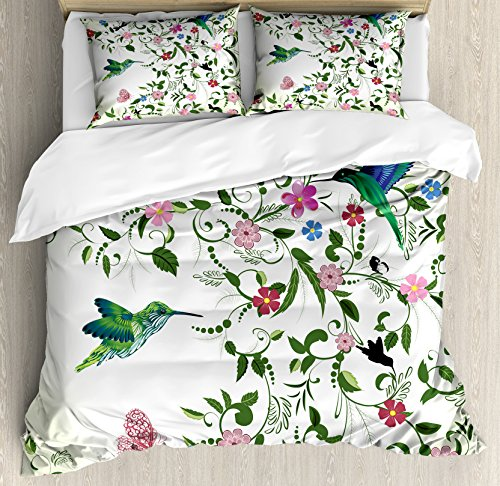 Lunarable Hummingbird King Size Duvet Cover Set, Swirled Leaves Blossoming Flowers Abstract Coming The Spring Theme, Decorative 3 Piece Bedding Set 2 Pillow Shams, Multicolor ()