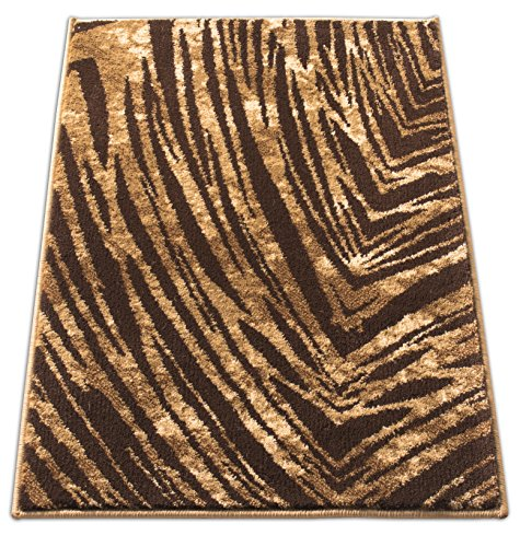 Eventful Spirit Brown & Beige Animal Print Area Rug Abstract Brushstrokes Zebra Stripes (Print Rugs Outdoor Animal)