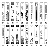 Yiding Retro Bookmark Carved Mahogany Tassels with Landscape Flowers Pattern Random