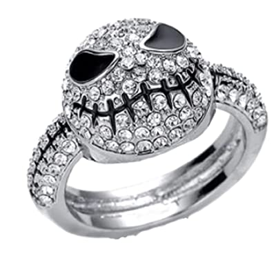 New Horizons Production Nightmare Before Christmas Rhinestone Stainless Steel Finger Ring (8): Jewelry
