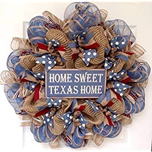 Home Sweet Texas Home Welcome Wreath Handmade Deco Mesh 36