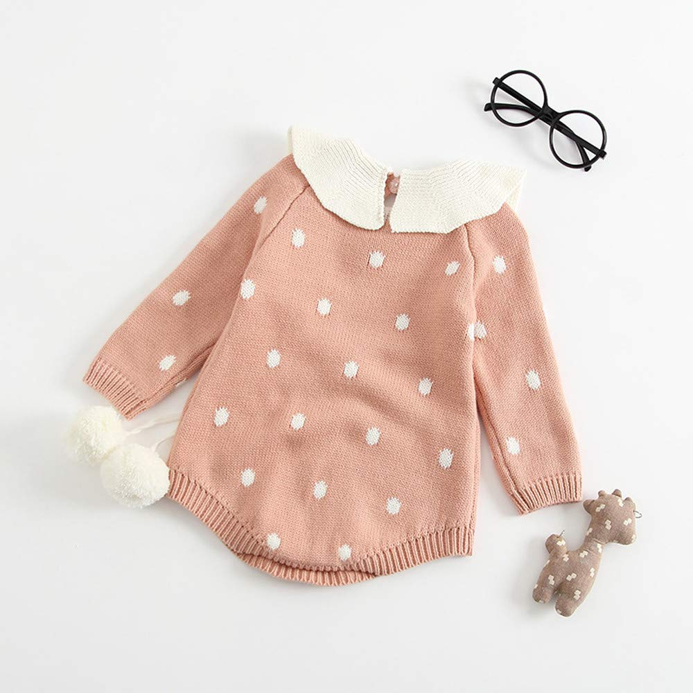 d8253746 ... Sagton Infant Newborn Baby Boy Girl Knit Dot Ball Romper Bodysuit  Crochet Clothes Outfits ...