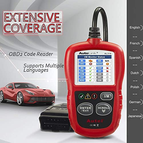 Autel AutoLink AL319 is a multilingual OBD2 scan tool that can be set to display information in English, German, French, Spanish and many more