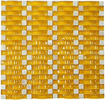 Yellow Glossy Sea Wave Glass Mosaic Tile For Bathroom And Kitchen Walls Kitchen Backsplashes Amazon Com