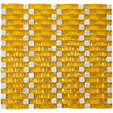 Yellow Glossy Sea Wave Glass Mosaic Tile for Bathroom and Kitchen Walls Kitchen Backsplashes