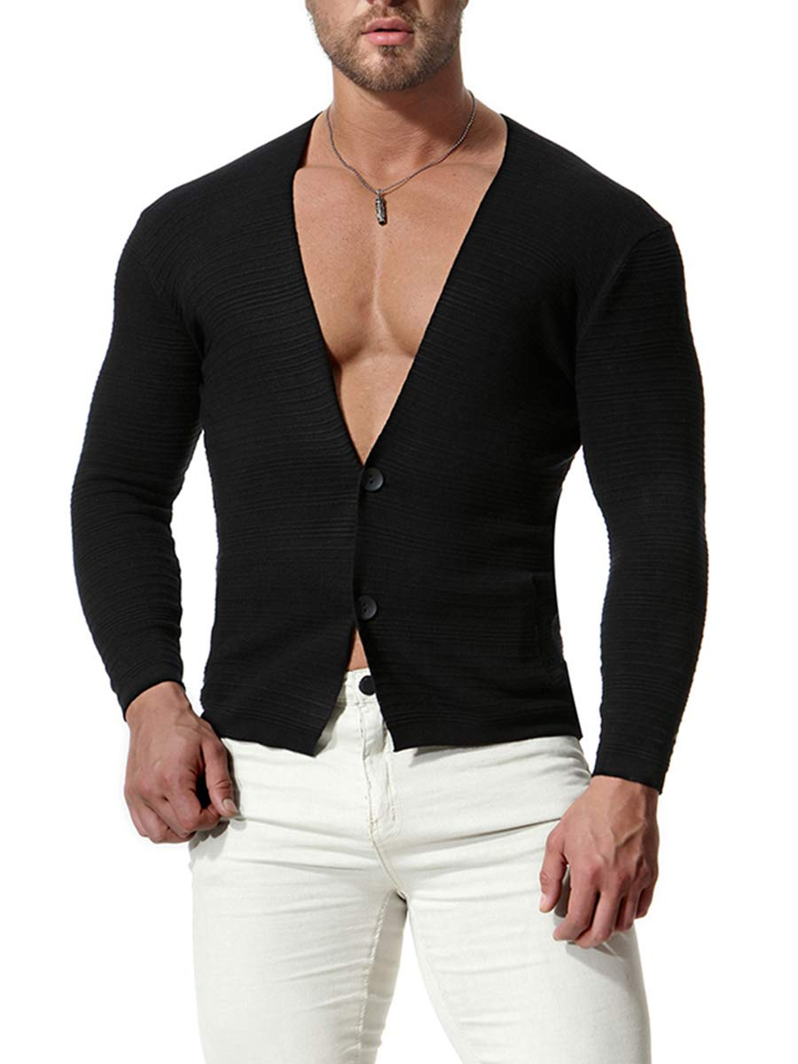 Lynwitkui Mens Long Sleeve Lightweight Cardigan Sweaters Slim Fit Open Front Deep V Neck Snap Button Tops