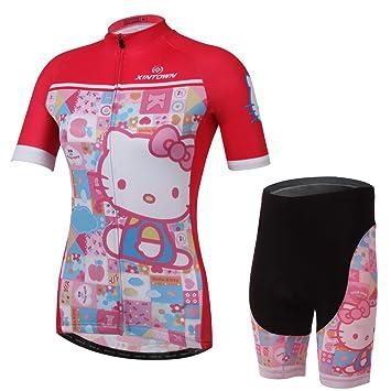 Jersey de ciclismo mujeres Hello KITTY rosa traje cortos ...