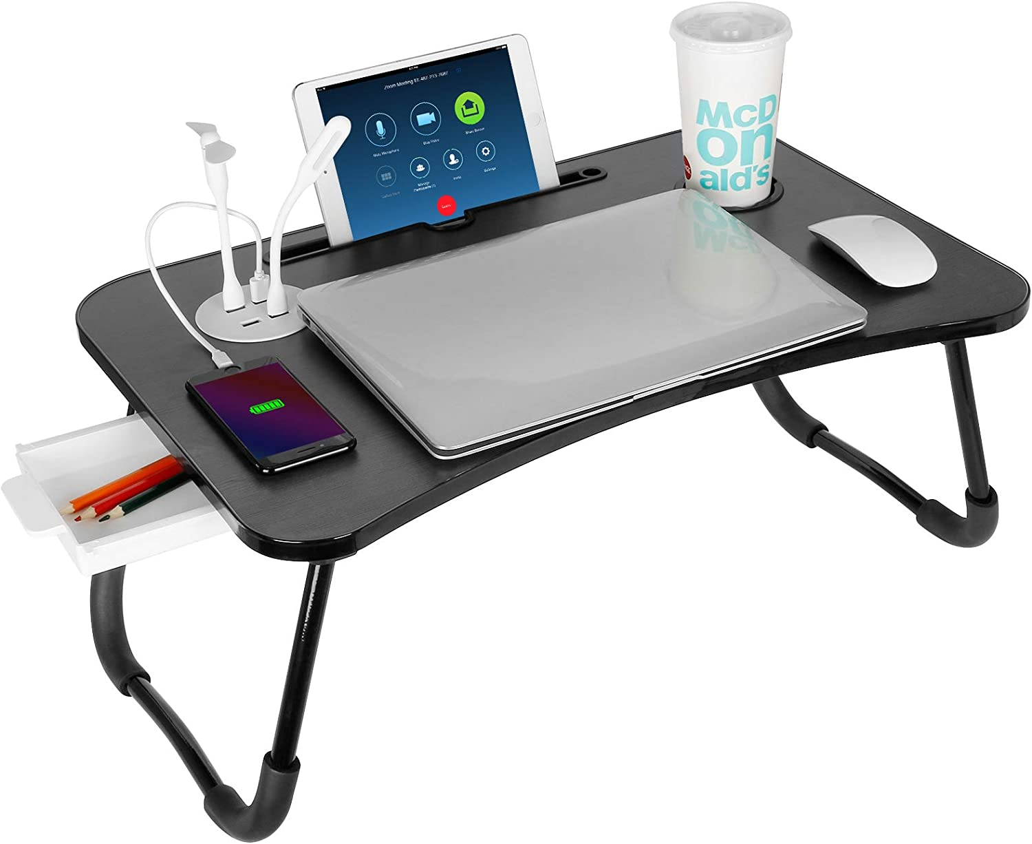 Laptop Bed Table with USB, VLikeze Foldable Lap Desk for Bed, Portable Breakfast Tray Table Reading Holder for Sofa Floor Writing Eating Working (Black)