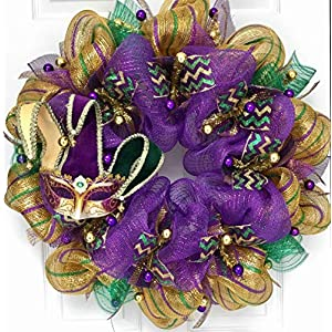 Mardi Gras Wreath Venetian Jesters Mask Handmade Deco Mesh 114