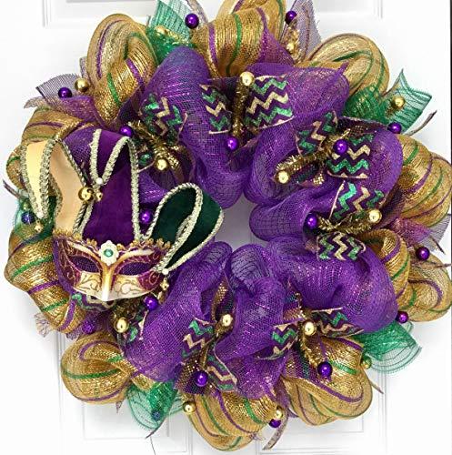 Mardi Gras Wreath Venetian Jesters Mask