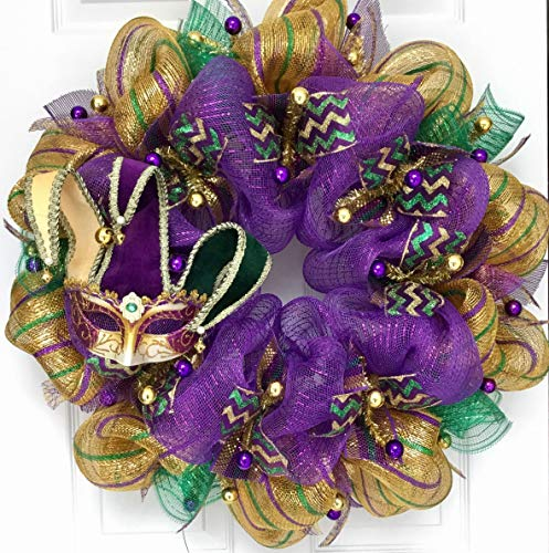 Mardi Gras Wreath Venetian Jesters Mask Handmade Deco Mesh -