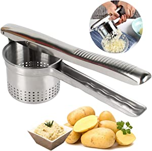 VINEALLEY Stainless Steel Potato Ricer & No Lumps Potato Masher Vegetables Masher Large Capacity Food Ricer for Pressing Cauliflower, Fruits, Yams, Squash, Kitchen Tool & Utensil, Dishwasher Safe